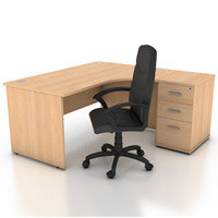 Right Hand Radial Panel End Office Desk With 3 Drawer Desk High ...
