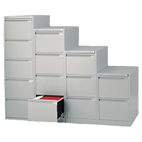 4 Drawer Silver Filing Cabinet Steel Lockable A4 Height 1250mm