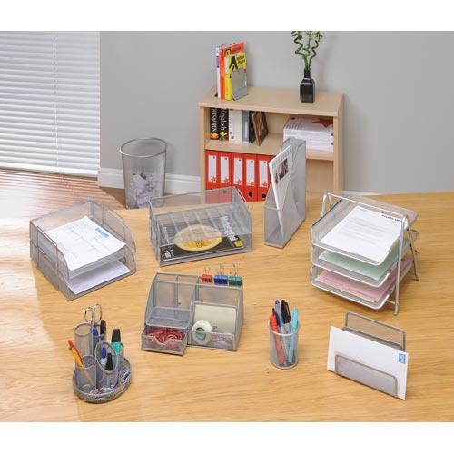 Design Ideas Mesh Letter Tray: Mesh Large Desk Organiser Silver Scratch Resistant Osco