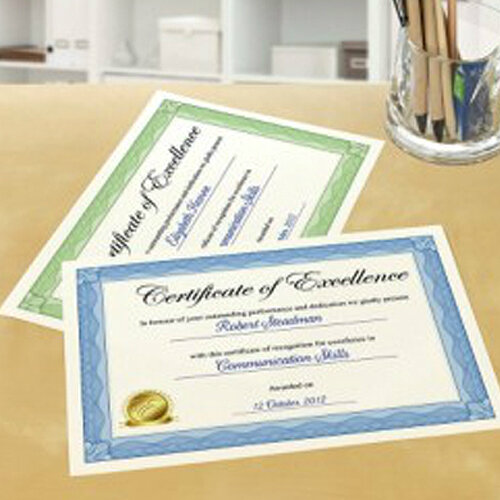 avery certificate paper 50percent cotton a4 green border