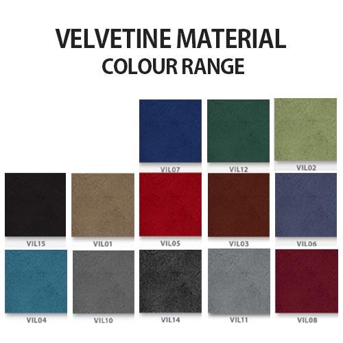 velvetine material colour range for Kleiber Thunder chairs