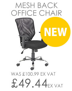 Mesh Back Office Chair With Arms & Chrome Base Black
