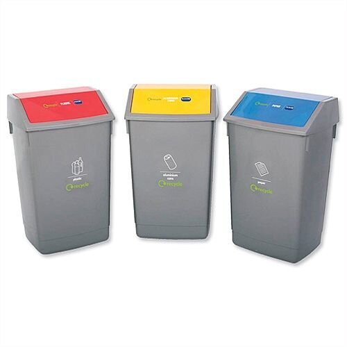 Addis Recycling 3x 60L Bins Kit With Colour Coded Lids Flip Top (Pack Of 3
