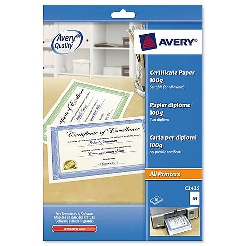 Cotton A4 Green Border Certificate Paper 50percent  Ref C2426 Pack 10 Avery
