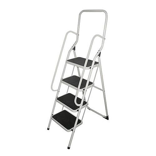White Folding Step Stool With Handrail Height To Top Step