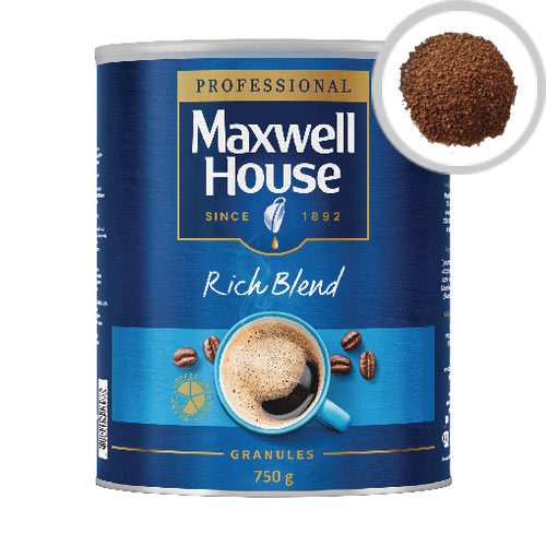 Maxwell House Coffee Granules 750g Tin Rich Blend Pack of 1 64985