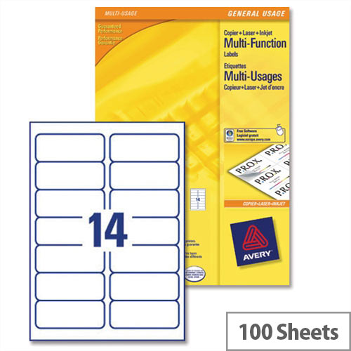 Avery 3653 Multifunction Copier Labels 14 per Sheet 105x42.3mm White (1400 Labels)