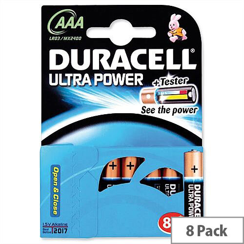 Duracell Ultra Power 1.5V AAA MX2400 Alkaline Battery 81235515 Pack 8