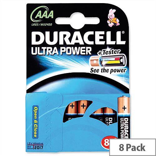 Duracell Ultra Power 1.5V AAA MX2400 Alkaline Battery 81235515 Pack 8