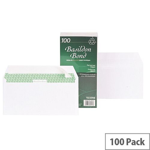 Basildon Bond DL Envelopes Wallet White Peel and Seal Pack 100 Recycled Ref F80275