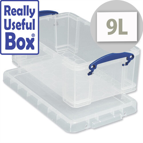 Media Plastic Storage Box 9 Litre Stackable Clear Really Useful