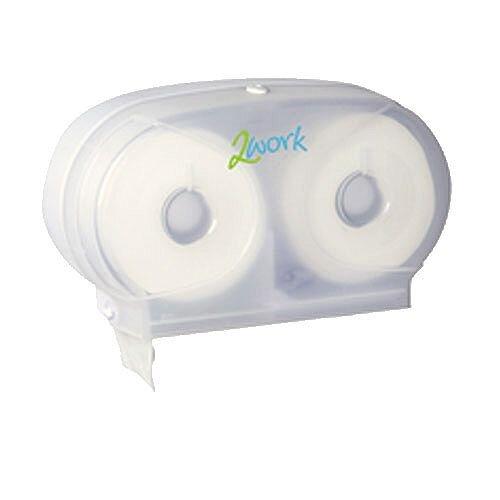 2Work Compact Size Versa Twin Toilet Paper Roll Plastic Dispenser Translucent White