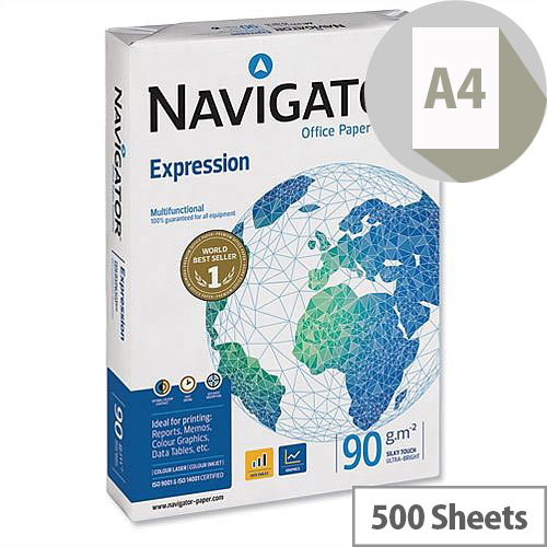 Navigator A4 Expression Inkjet Paper Extra Smooth 90gsm White 500 Sheets