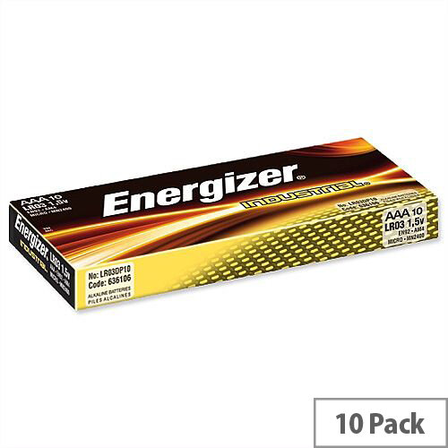 Energizer Industrial Battery Long Life LR03 1.5V AAA 636106 Pack 10
