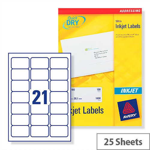 Avery QuickDRY Inkjet Address Labels 21 per Sheet 63.5x38.1mm White Ref J8160-25 [525 Labels]