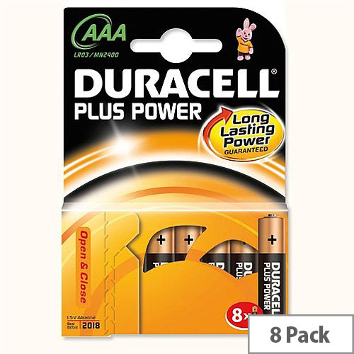 Duracell Plus Power AAA 1.5V Alkaline Battery Pack 8