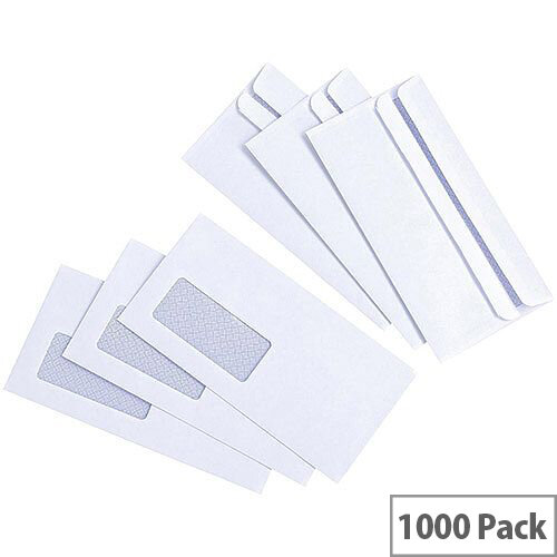 White Box Window Envelope DL Wallet White Press Seal Pack 1000