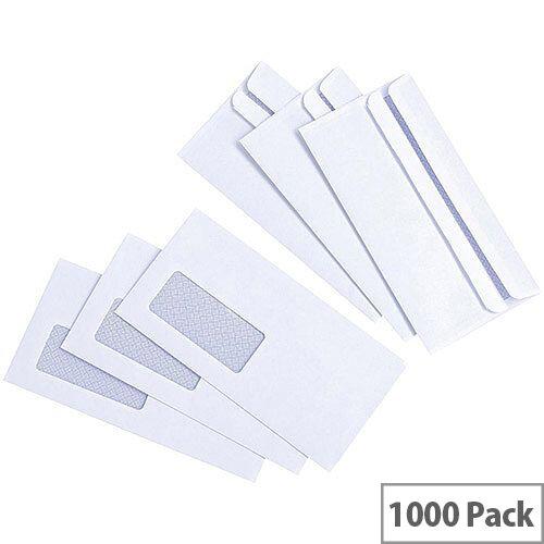 White Box Window Envelope DL Wallet White Press Seal Pack 1000