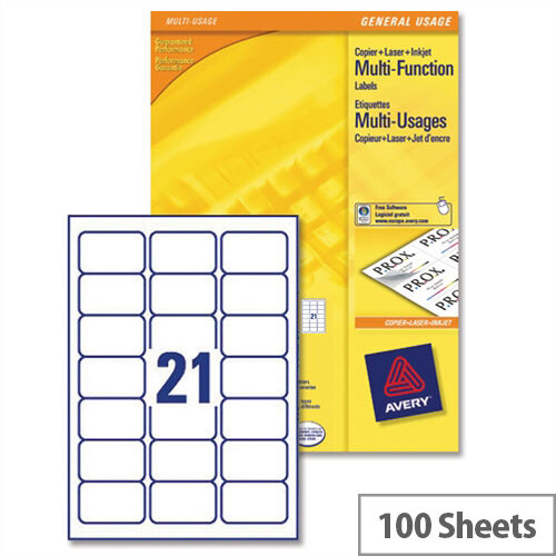 Avery 3652 Multifunction Labels 21 per Sheet 70 x 42.3mm White (2100 Labels)