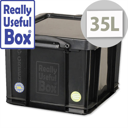 Really Useful 35 Litre Black Plastic Storage Box Stackable Recycled 35L