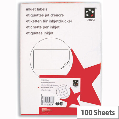 Inkjet Address Labels 8 per Sheet 99.1 x 67.7mm White 800 Labels 5 Star