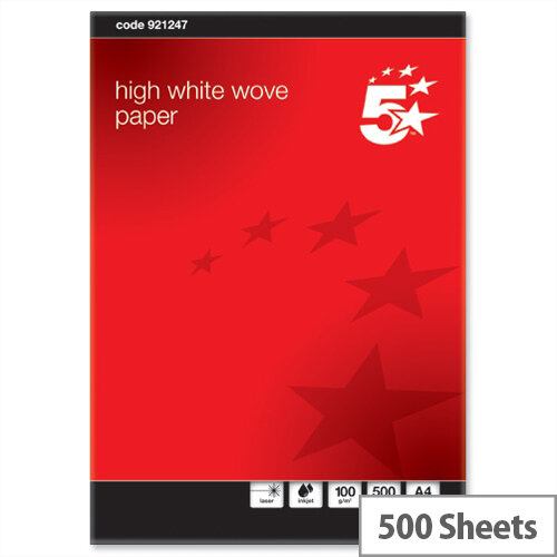 A4 100gsm High White Wove Finish Premium Paper 500 Sheets 5 Star