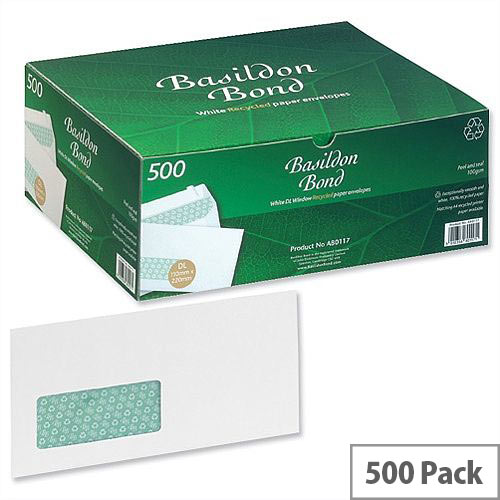 Basildon Bond DL Window Envelopes White Wallet Peel and Seal Pack 500 Recycled Ref A80117