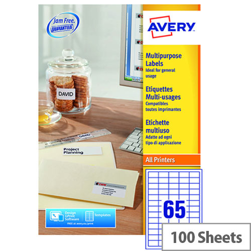Avery 3666 Multifunction Copier Labels 65 per Sheet 38.1x21.2mm White (6500 Labels)