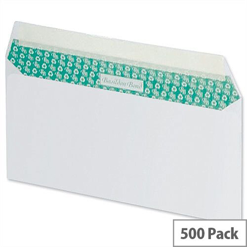 Basildon Bond DL Envelopes White Wallet Peel and Seal Pack 500 Recycled Ref C80116