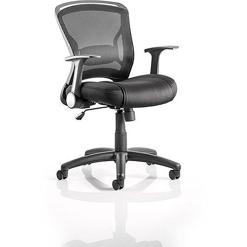Zeus Task Operator Office Chair Black Fabric Black Mesh Back With ...