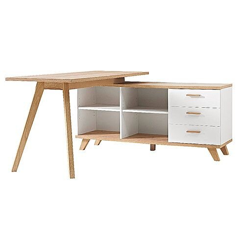 Home office desk with storage Overhead Storage Germania Oslo Home Office Desk With Integrated Storage 1400mm Oakwhite Huntofficecouk Tall Dining Room Table Thelaunchlabco Germania Oslo Home Office Desk With Integrated Storage 1400mm Oak