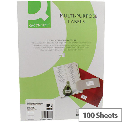 Q-Connect Copier Labels 105x148mm 4 per A4 Sheet Butt Cut Pack of 100 White