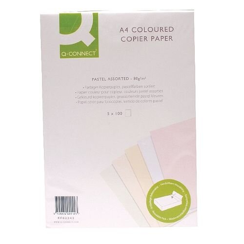 A4 Pastels Assorted Coloured Copier Paper 80gsm Ream Q-Connect