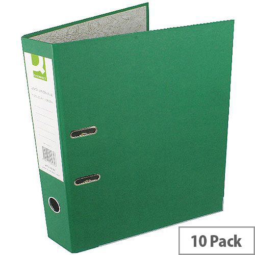Q-Connect Green Foolscap Paperbacked Lever Arch File Pack of 10