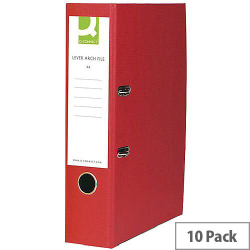 A4 Lever Arch File Paper Board Red 10 Pack Q Connect