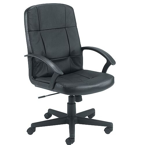 Jemini Medium Back Leather Look Executive Armchair Black