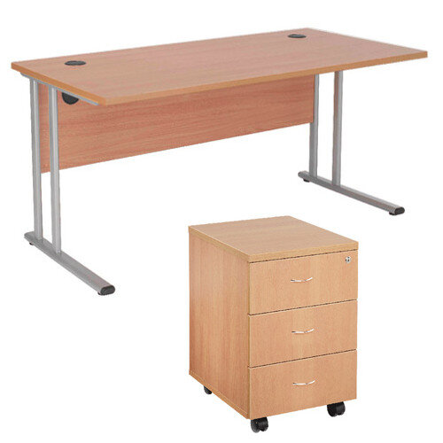 BUNDLE OFFER Rectangular 1600mm Wide Office Desk In Beech With 3 Drawer  Pedestal U2013 Cable Management