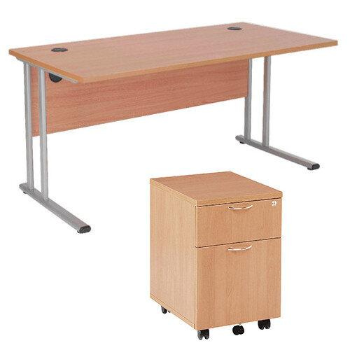 BUNDLE OFFER Rectangular 1600mm Wide Office Desk In Beech With 2 Drawer  Pedestal U2013 Cable Management