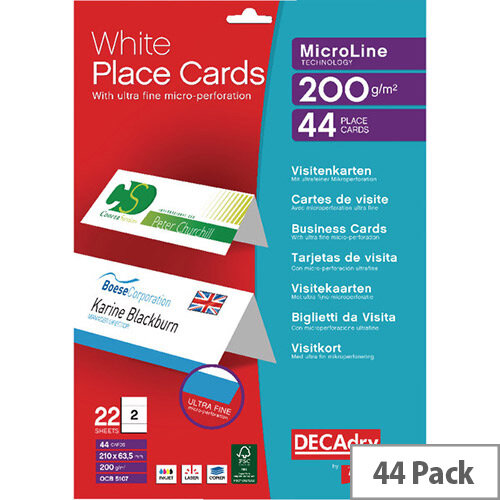 Decadry Place Card 210x63.5mm 2 per A4 Sheet White Pk 44