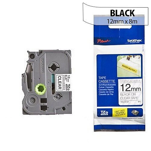 Brother TZ131 P-touch TZ Tape 12mm x 8m Black on Clear