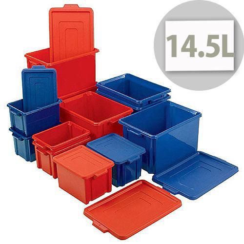 Storemaster Midi Crate With Lid 14.5L Blue L360xW270xH190mm