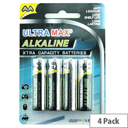 White Box Alkaline Batteries AA [Pack 4]