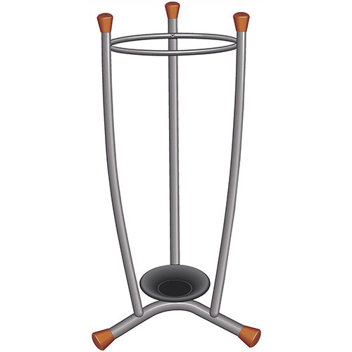 Umbrella Stand Removable Drip Tray Metal Finish Wood Trim