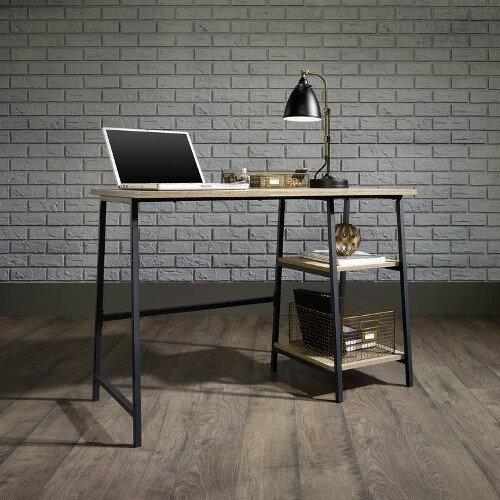 Beau Industrial Style Home Office Bench Desk In Charter Oak Effect