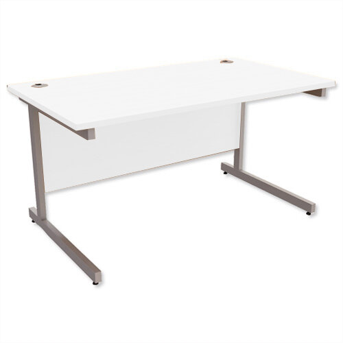 Office Desk Rectangular Silver Legs W1400mm With 800mm