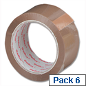 Sellotape Cellux Packing Tape Economy General Purpose 48mmx50m Buff 0550 Pack 6