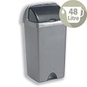 Tall Plastic Waste Bin 48 Litres Capacity Roll Top Metallic Silver 9716MET