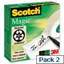 Scotch Magic Tape 12mm x 66m Matt Pack 2