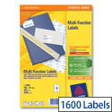 Avery 16 per Sheet Labels 105 x 37 Copier 3484 1600 Labels