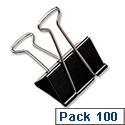 IXL Foldback Clips 41mm Black Pack 100